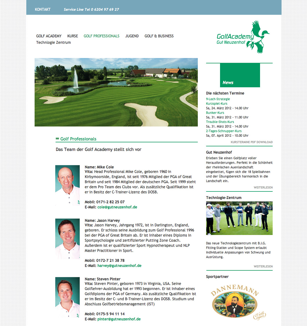 Kursterminübersicht der GolfAcademy